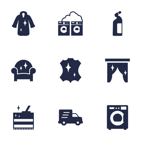Set Of 9 Cleaning Icons Set.Collection Of Washhouse, Detergent, Dry And Other Elements.