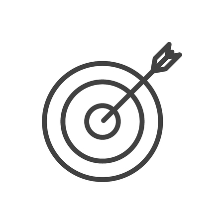 Isolated Arrow Outline Symbol On Clean Background. Vector Target Element In Trendy Style. Illustration