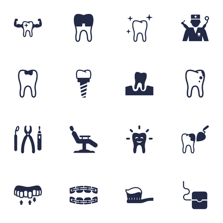 Set Of 16 Dentist Icons Set.Collection Of Orthodontist, Healthful, Instruments And Other Elements. Illustration