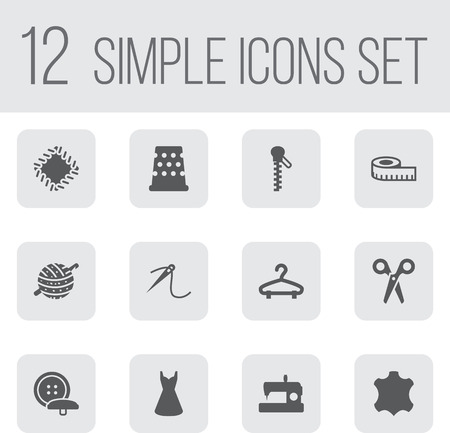 sewing machines: Set Of 12 Tailor Icons Set.Collection Of Meter, Rack, Machine And Other Elements.