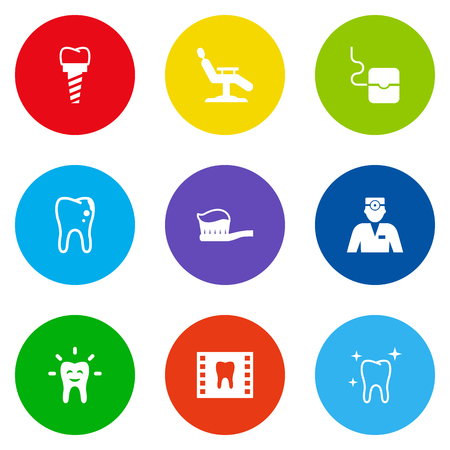 crumbling: Set Of 9 Dentist Icons Set.Collection Of Implantation, Dentist, Roentgen And Other Elements. Illustration