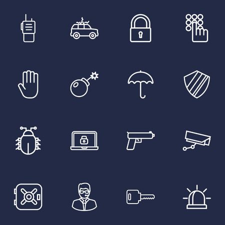 aegis: Set Of 16 Safety Outline Icons Set.Collection Of Hand , Walkie-Talkie, Open Elements.