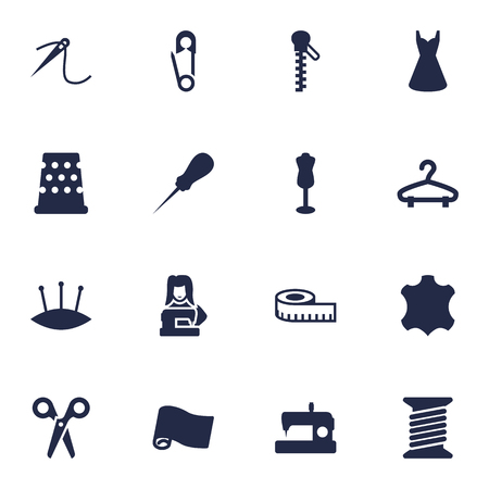 sewing machines: Set Of 16 Tailor Icons Set.Collection Of Bodkin, Roll, Cutter And Other Elements.