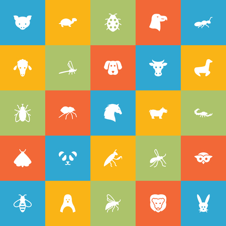 Set Of 25 Animal Icons Set.Collection Of Beetle, Steed, Tortoise And Other Elements. Illustration