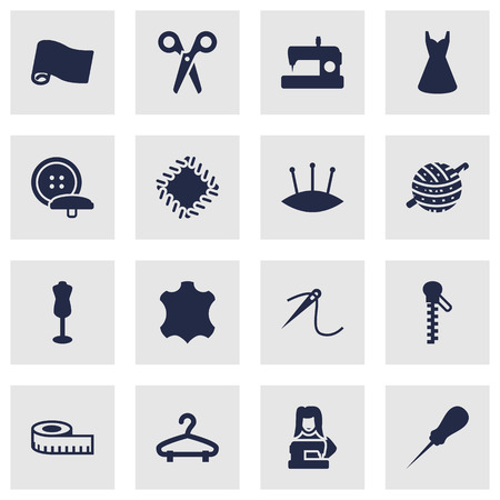 Set Of 16 Tailor Icons Set.Collection Of Fastener, Evening Gown, Skin And Other Elements.