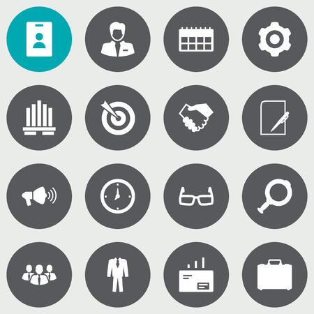 formal signature: Set Of 16 Trade Icons Set.Collection Of Worker, Loupe, Clothes And Other Elements.