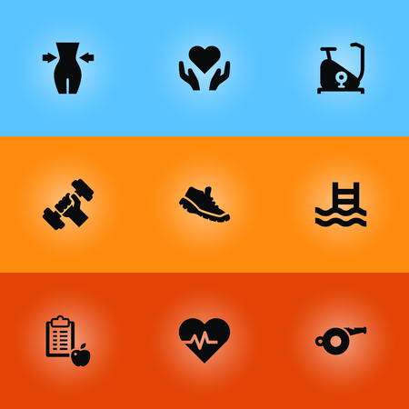 Set Of 9 Fitness Icons Set.Collection Of Sneakers, Heartbeat, Slimming And Other Elements. Illustration