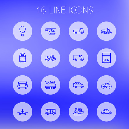 monorail: Set Of 16 Transport Outline Icons Set.Collection Of Truck, Bike, Moped And Other Elements.