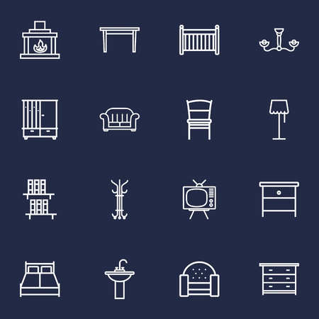 Set Of 16 Set Outline Icons Set.Collection Of Tv Set, Washbasin, Double Bed And Other Elements.