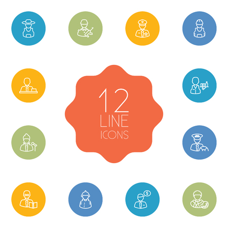 Set Of 12 Job Outline Icons Set.Collection Of Singer, Banker, Policeman And Other Elements. Stock Illustratie