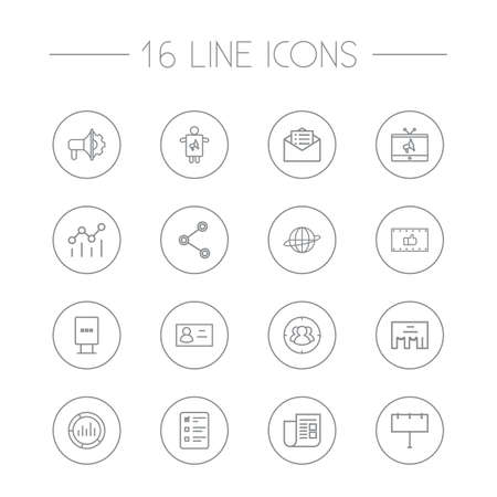 ceo: Set Of 16 Advertising Outline Icons Set.Collection Of Billboard, Campaign, Stand Elements.