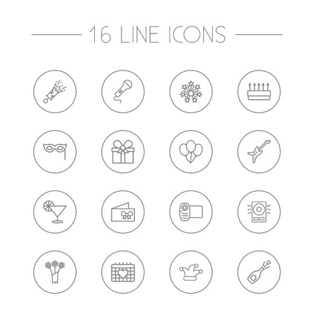 Set Of 16 Cheerful Outline Icons Set.Collection Of Gift, Microphone, Flower And Other Elements.