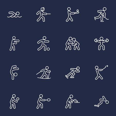 Set Of 16 Fitness Outline Icons Set.Collection Of Gymnastic, Batting, Swordplay And Other Elements.