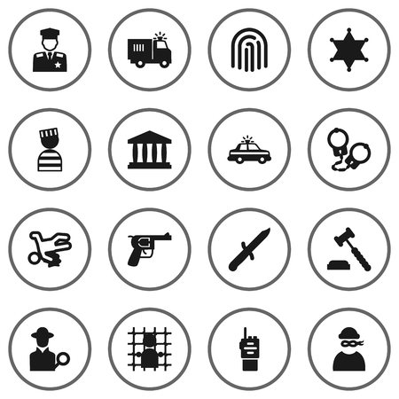 Set Of 16 Criminal Icons Set.Collection Of Manacles, Thief, Truck And Other Elements.