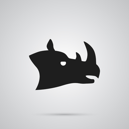Isolated Rhino Icon Symbol On Clean Background. Vector Rhinoceros Element In Trendy Style. Illustration