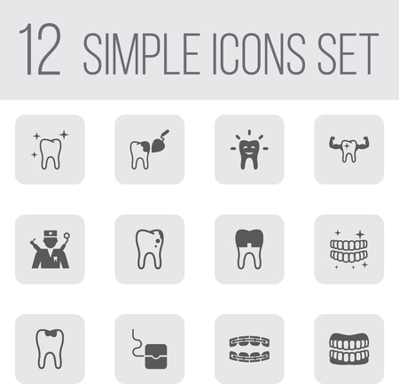 Set Of 12 Dentist Icons Set.Collection Of Decay, Prosthesis, Procedure And Other Elements.