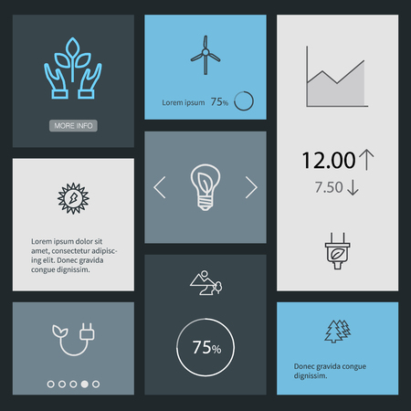 Set Of 8 Ecology Outline Icons Set.Collection Of Wind Turbine, Plug, Afforestation And Other Elements. Ilustrace