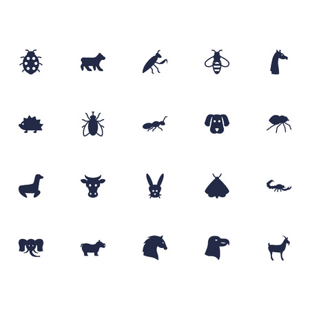 Set Of 20 Alive Icons Set.Collection Of Hippo, Housefly, Steed And Other Elements.