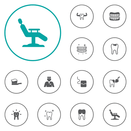 Set Of 12 Dental Icons Set.Collection Of Dental Crown, Caries, Procedure And Other Elements. Illustration