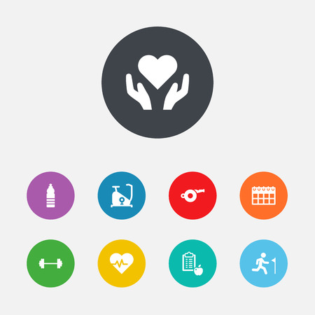 Set Of 9 Fitness Icons Set.Collection Of Blower, Heartbeat, Training Bicycle And Other Elements.