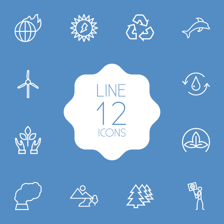 Set Of 12 Ecology Outline Icons Set.Collection Of Afforestation, Pollution, Eco And Other Elements.