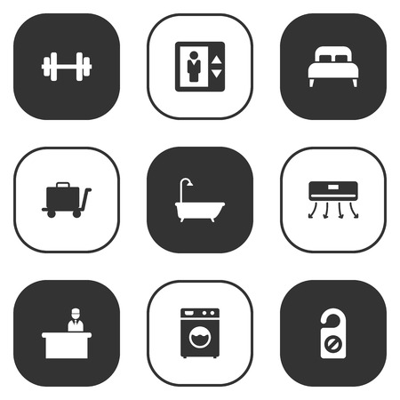 tour operator: Set Of 9 Motel Icons Set.Collection Of Bathtub, Rest Time, Washer Machine And Other Elements.