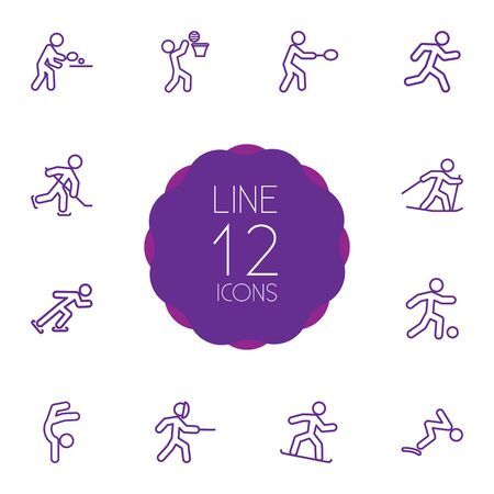 race winner: Set Of 12 Fitness Outline Icons Set.Collection Of Gymnastic, Soccer, Puck And Other Elements.