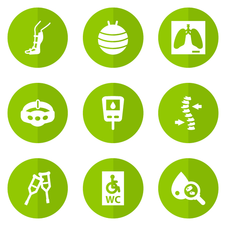 Set Of 9 Healthy Icons Set.Collection Of Spine, Blood Analysis, Splint And Other Elements. Illustration