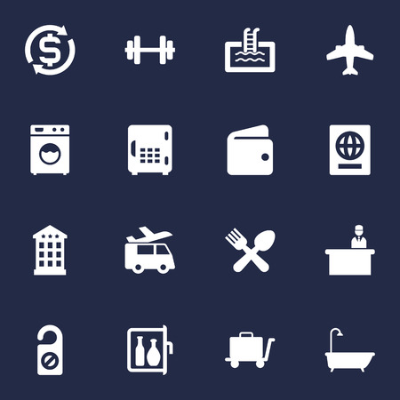 apartment bell: Set Of 16 Travel Icons Set.Collection Of Inn, Currency, Washer Machine And Other Elements.