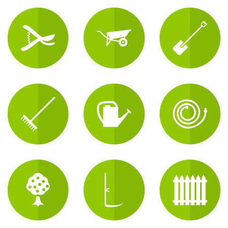 Set Of 9 Horticulture Icons Set.Collection Of Garden Hose, Watering Can, Wheelbarrow And Other Elements. Illustration