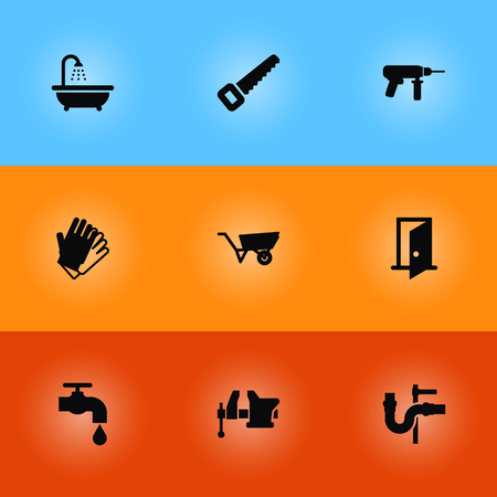 Set Of 9 Construction Icons Set.Collection Of Faucet, Gauntlet, Electric Screwdriver And Other Elements. Illustration