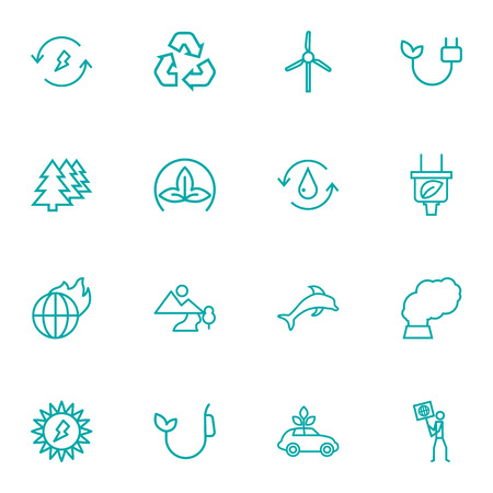 Set Of 16 Bio Outline Icons Set.Collection Of Afforestation, Ecologist, Pollution And Other Elements.
