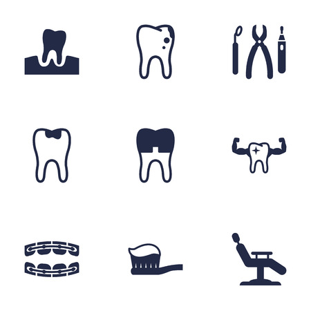 Set Of 9 Teeth Icons Set.Collection Of Healthful, Toothpaste, Dental Crown And Other Elements.