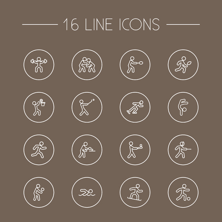 Set Of 16 Sport Outline Icons Set.Collection Of Player, Fight, Pong Ping And Other Elements. Vektoros illusztráció