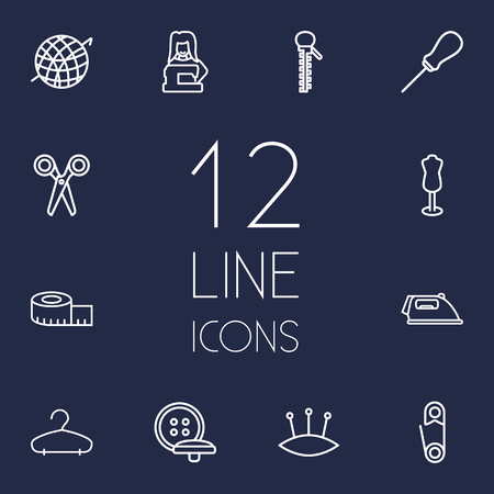 awl: Set Of 12 Sewing Outline Icons Set.Collection Of Zipper, Measuring Tape, Crochet And Other Elements.