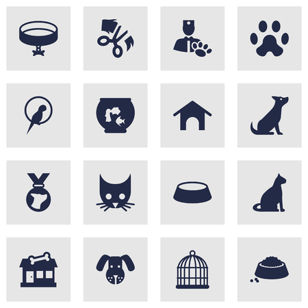 Set Of 16 Pets Icons Set.Collection Of Head, Fishbowl, Cat And Other Elements.