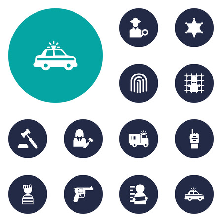 jailer: Set Of 12 Crime Icons Set.Collection Of Lawyer, Jail, Police Car And Other Elements.
