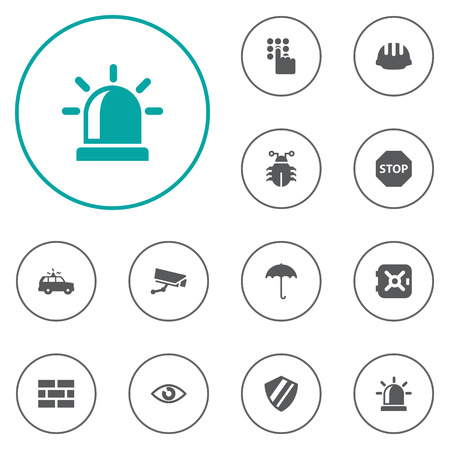 aegis: Set Of 12 Security Icons Set.Collection Of Surveillance, Look, Hardhat And Other Elements. Illustration