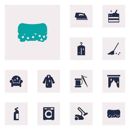 Set Of 12 Cleanup Icons Set.Collection Of Machine, Hoover, Clothes And Other Elements.