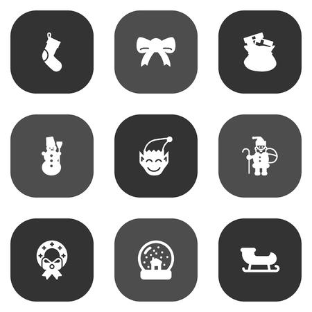 Satz von 9 Feiertags-Ikonen eingestellt Sammlung der Dekoration, Eis-Person, Socken und anderer Elemente.