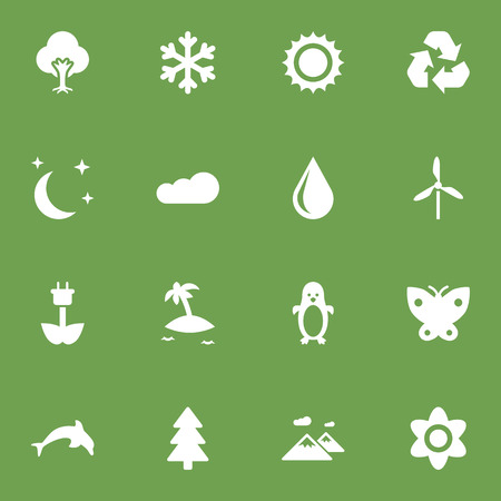 Set Of 16 Nature Icons Set.Collection Of Moth, Polar Bird, Overcast And Other Elements.