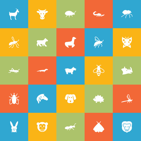 Set Of 25 Animal Icons Set.Collection Of Livestock, Porcupine, Ape And Other Elements. Illustration