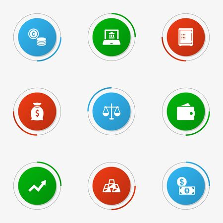 strongbox: Set Of 9 Finance Icons Set.Collection Of Cash, Electron Report, Strongbox And Other Elements.