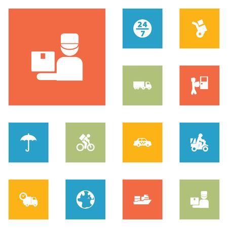 Set van 12 verzendkosten Icons Set.Collection van paraplu, Van, Cab en andere elementen.
