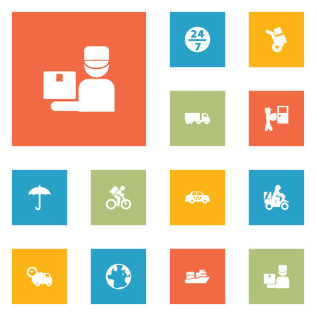 Set Of 12 Shipping Icons Set.Collection Of Umbrella, Van, Cab And Other Elements.