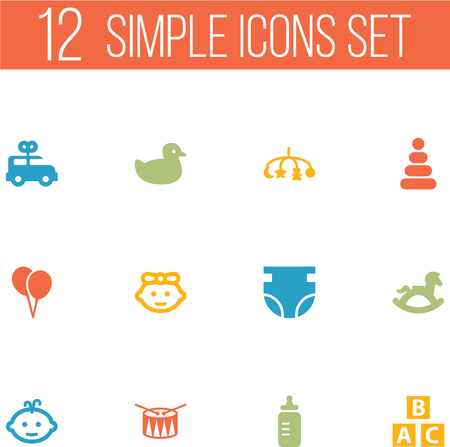 Set Of 12 Child Icons Set.Collection Of Equine, Bus, Barrel And Other Elements. Illustration
