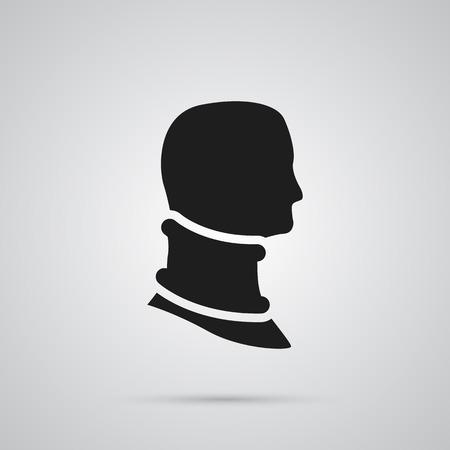 Isolated Cervical Collar Icon Symbol On Clean Background. Vector Broken Neck Element In Trendy Style.