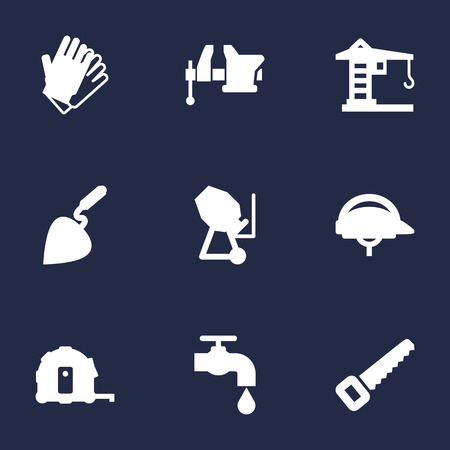 bathroom scale: Set Of 9 Construction Icons Set.Collection Of Hacksaw, Hardhat, Building Machinery And Other Elements.