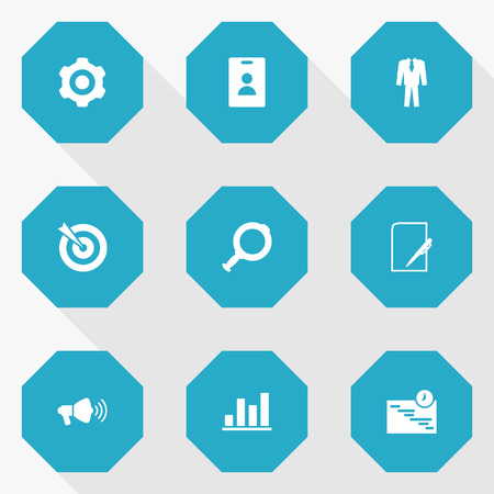 dashboard: Set Of 9 Management Icons Set.Collection Of Id Card, Clothes, Mechanism And Other Elements. Illustration
