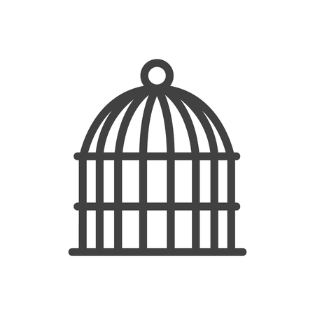 Isolated Birdcage Outline Symbol On Clean Background. Vector Bird Prison Element In Trendy Style.